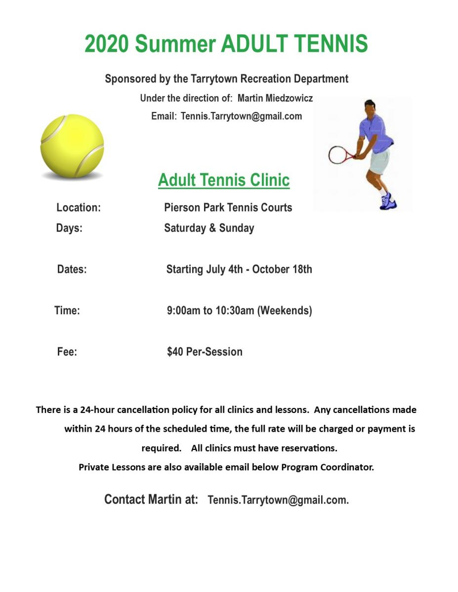 Summer Adult tennis Clinics FLyer starting July 4th